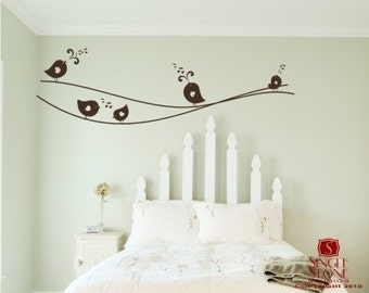 Bird Wall Decals Sweet Singing Birdies on a Wire - Vinyl Wall Stickers Art Custom Home Decor