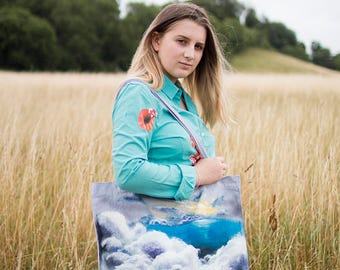 Hand Painted Clouds Recycled Cotton Shopper Bag