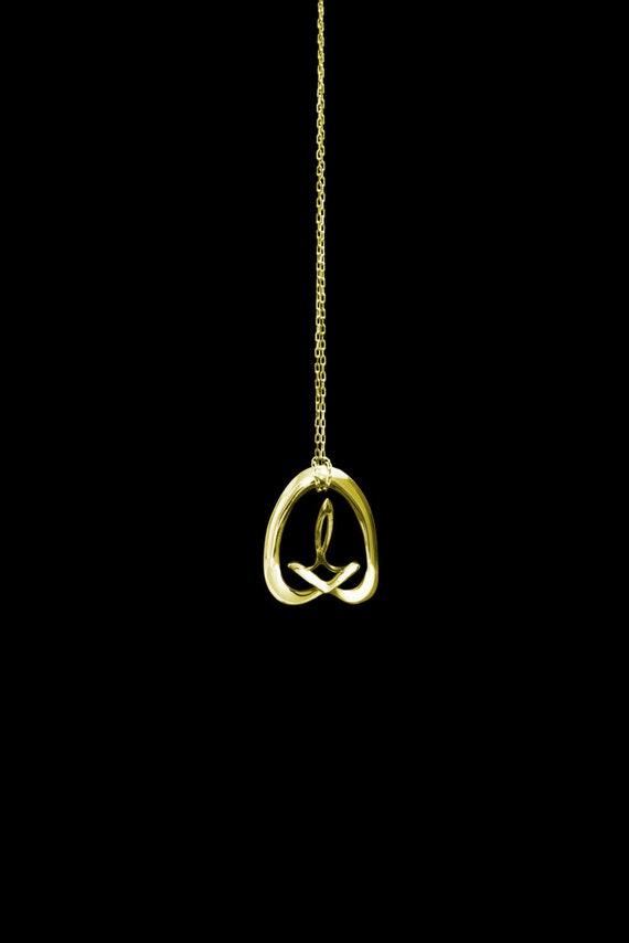 "3d Music Necklace - ""Kindle"" - Original 14K Gold Pendant - Fifth Octave Harmony - Techniflow Soundstill Series"