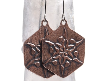 Geometric Etched Copper Earring
