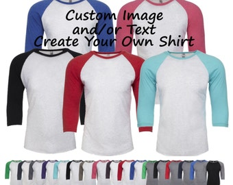 Custom Adult Unisex Raglan Shirt/ Custom T-shirt / Customized Tee / Design Your Own Shirt / Custom Tees / Custom Raglan Shirt