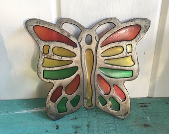 Beautiful Metal Stained Glass Butterfly Trivet.