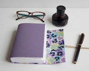 Pansy Flower Journal, Japanese Chiyogami Journal, Wedding Journal, Guestbook, Lilac Leather Journal, Blank Book,