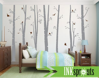 Birch Decal set with Birds, 7 Large Birch Trees, birch decal, Birch forest, Nursery birch set, Woodland animals, Nursery decals, Baby Decals