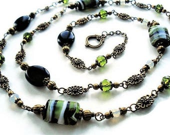 Onyx Necklace Gemstone Jewelry Green Necklace Bohemian Jewelry Vintage Style Long Necklace Opal Jewelry Black Necklace For Her Green Jewelry