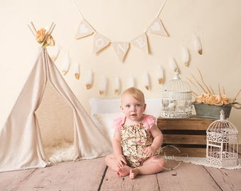 Photography Digital Backdrop, first birthday, cake smash, cream, neutral, boho, chic