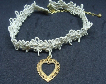 "Tatted Choker Necklace With Heart Pendant, 10-11"" Long"