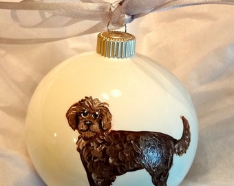 Labradoodle (Chocolate) Dog Hand Painted Christmas Ornament - Can Be Personalized with Name