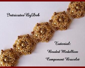 PDF Tutorial Beaded Medallion Motif Bracelet - Jewelry Beading Pattern, Beadweaving Instructions, Do It Yourself, How To