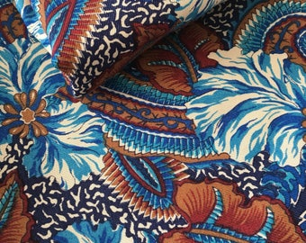 Boho Cotton - Blue and Brown Floral Cotton Fabric - Two Yards  - Cotton Fabric - Floral Print Cotton - Quilt Cotton Fabric - Sewing fabric