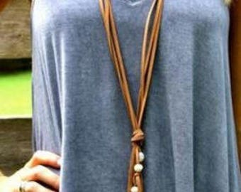 Leather Long Choker, boho,long suede with simple pearls, layered, tie choker