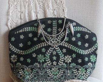 Vintage brocade handbag,boho chic handbag