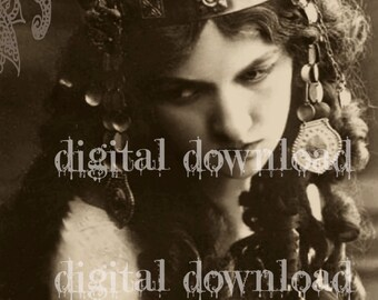 Instant PRINTABLE digital Download Victorian GYPSY Bohemian Beautiful Woman Rare photo vintage victorian photo transfer Gypsy Witch DArk Art