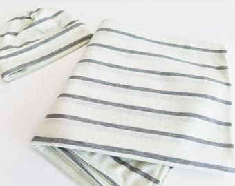 Mint & Charcoal Baby Swaddling Set - Swaddling Blanket and Beanie - Ready to Ship