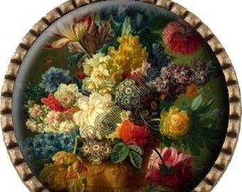 Bronze pendant Cabochon - flower Vase - (85)