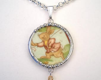 Broken China Jewelry Bunny Rabbit Necklace Royal Doulton Bunnykins Handcrafted Pendant by Charmedware
