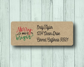 Custom Christmas Address Labels - Personalized Holiday Fancy Return Mailing Labels - Merry and Bright - Matte White, Kraft, or Clear Gloss
