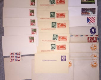 SALE Vintage USA Stamped Air Mail Stamp Postcards Unused Uncirculated Circa 1950s-80s 22 Various Postcards w Uncanceled Stamps