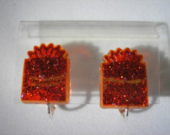 Earring - Clip - Holiday Package Red - 1/2""
