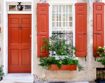Red Door Photography Print   Door Photo Metal Print   Door Photograph  Canvas Print   Charleston Door Prints   Large Wall Art   Charleston SC