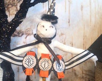 Halloween ornament halloween decor mummy ornament ooak art doll orange and black RIP