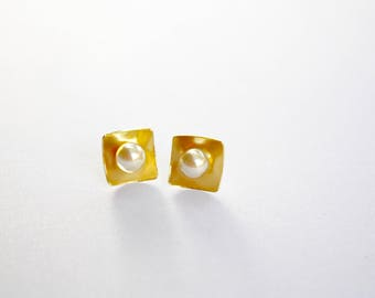 Simulated Pearls in Square Gold Post Stud, Ready to Ship