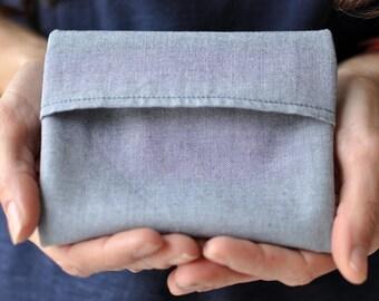 Pocket handkerchief organic for men or women; blue gray black stars. zero waste; eco-friendly