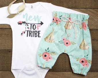 Coming Home Outfit for Baby Girls | Teepee High Waisted Pants New To the Tribe Outfit | High Waisted Pants and Knotted Headband