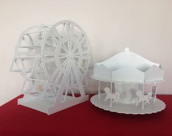 ferris wheel cupcake holder and carousel centerpiece or candy holder- carnival party-circus party