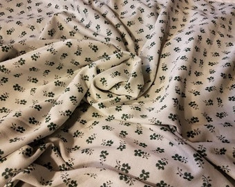 """Retro Floral Polyester Sewing Material  in Green + White - Vintage Spring or Summer Sewing Fabric, Floral Polyester Knit Yardage, 66"""" x 192"""""""
