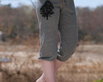 sittin under the Oak Tree Cropped Pants, Yoga Pants, Grey Pants, S,M,L,XL