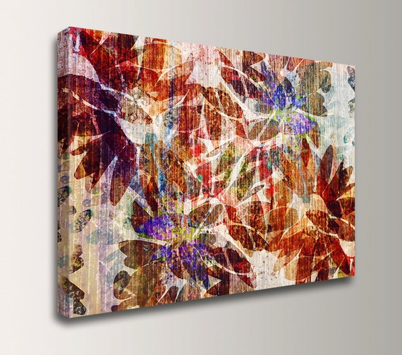 "Canvas Wall Art, Abstract Mixed Media Collage, Fine Art Canvas Print, "" Floral Spice """