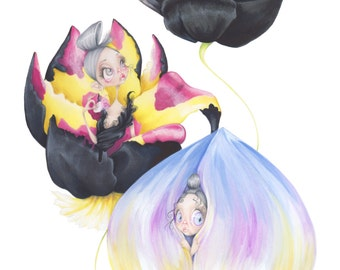 "Dior pop surrealism flower haute couture fashion illustration ""Tulipa Diora"" art print"
