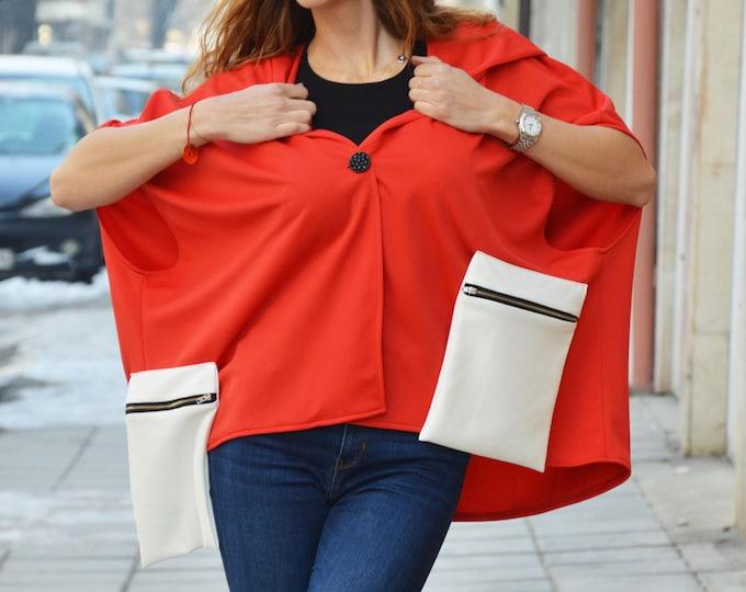 Red Hooded Maxi Jacket, Asymmetric Sleeveless Loose Jacket, Extravagant Neoprene Sweatshirt by SSDfashion