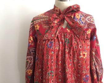 Vintage 70s Boho Maxi Dress Peasant Block Print / Size xs s