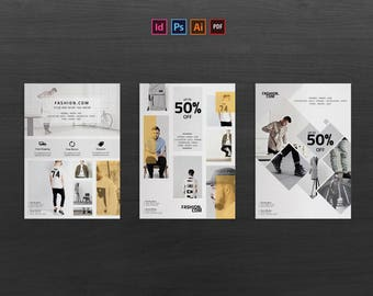 Fashion Flyer Template   Photoshop   Indesign   Illustrator   Template   Instant Download   CMYK   Print Ready   03 layouts   Promotion