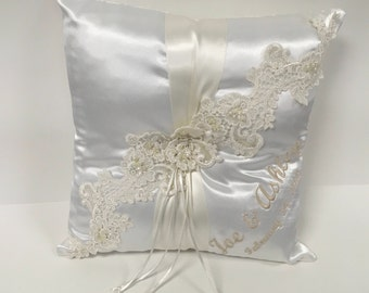 Personalized Ring Bearer Pillow, Satin Ring Bearer Pillow
