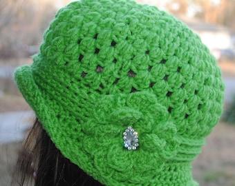 Vintage Inspired  Crochet cloche bucket flapper hat 22 to 24 Green
