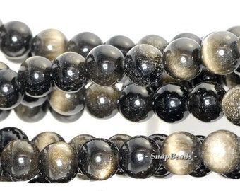 12mm Chatoyant Golden Sheen Obsidian Gemstone Grade AA Round 12mm Loose Beads 15.5 inch Full Strand (80000343-280)
