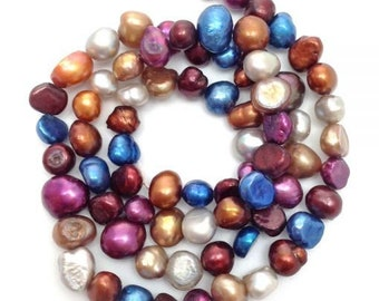 Freshwater pearls, blue, red, 6-8 mm, nuggets, 1 stra