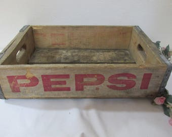 Pepsi Case Rustic Primitive Weathered Wood Red Lettering