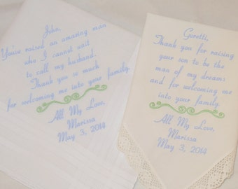 Father of the Groom gift Mother in Law Father in law Mother of the Groom Embroidered Wedding Handkerchiefs Personalized gifts Hankerchiefs