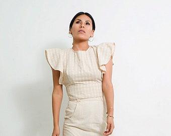 Unique Blouse/ Casual Blouse/ crew-neck top/ stylish top/ nude blouse organic cotton/ short sleeve blouse/ minimalist blouse