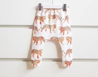 Baby boy leggings, baby girl leggings, organic baby clothes, tiger leggings, harem pants, baby pants, baby boy clothes, baby girl clothes.