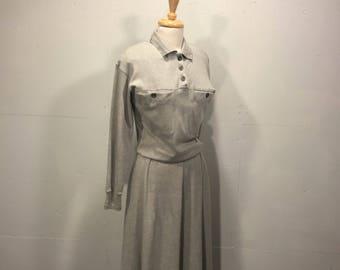 80's Liz Claiborne Dresses jersey maxi dress oatmeal neutral cotton maxi dress cotton long dress