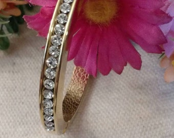 Rhinestone Bangle Bracelet, BLING, Oval Shape, Latches, Gold Tone, Clear Stones, Excellent Vintage Condition