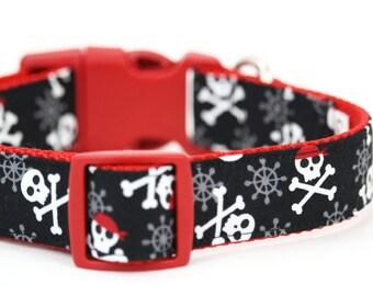 Black Skull Dog Collar Halloween Pirate Crossbones Bone Dog Collar Beach Ocean Nautical Dog Collar