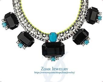 Chunky Black Neon Necklace, Bib Bubble Necklace