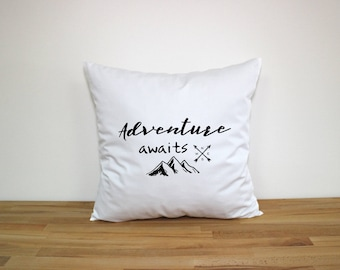 Adventure Awaits - Adventure Awaits Pillow - Mountain Pillow - Home Pillow 18x18 - Arrow Pillow - Adventure is out there Throw Pillow Covers
