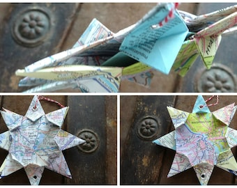 Double Mini Origami Map Ornament, Any 2 Cities! City to City Love, Best Friend, Long Distance Relationship, Across the Miles, Graduation